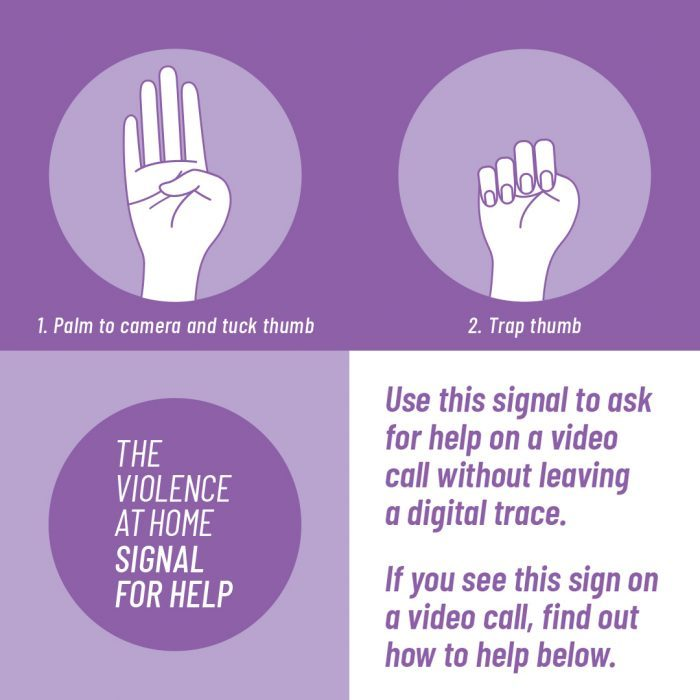 One handed signal for domestic abuse help to use on a video call